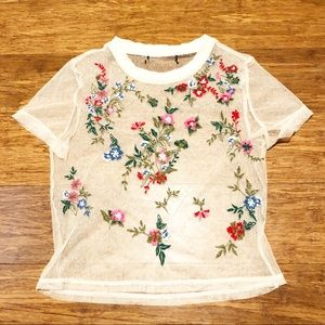 Forever 21 sheer cream embroidered floral crop top